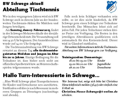BW Schwege Tischtennis- Minimeisterschaft und trampolinturnen