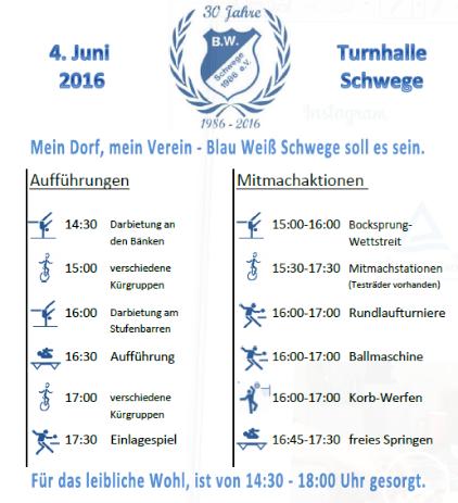 Programm Sportfest 30 Jahre Blau Weiß Schwege