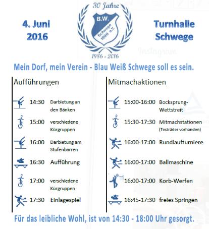 Programm Sportfest 30 Jahre BW Schwege